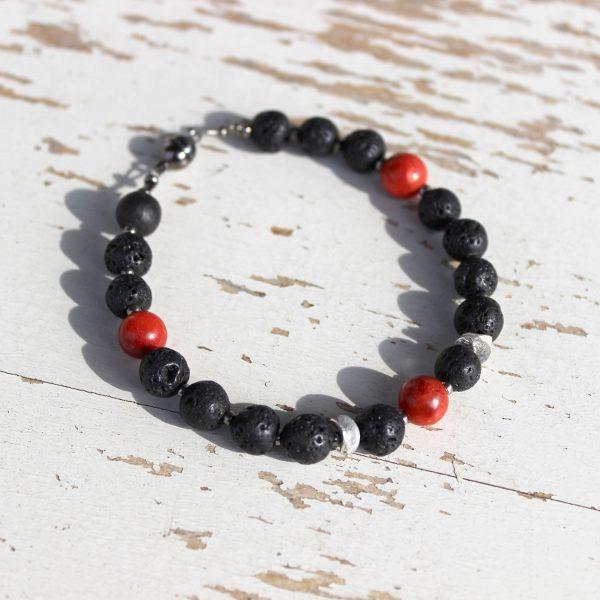 Armband mit Lava und Koralle