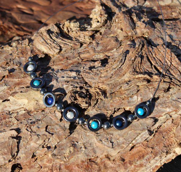 Kette mit Hämatit und miracle beads